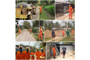 Spraying sanitation at worker colonies
